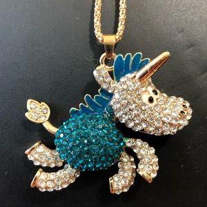 NWOT Betsey Johnson Rhinestone Unicorn Necklace